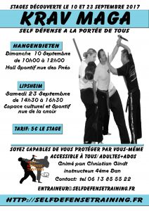 Stages Krav Maga dans la grande région Self Défense Training
