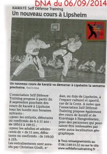 Article DNA karaté Lipsheim Self Défense Training